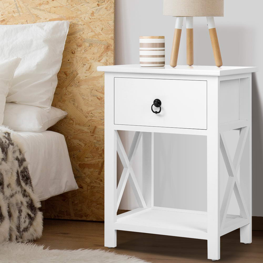 Artiss Bedside Tables Drawers Side Table Nightstand Lamp Chest Unit Cabinet x2 7