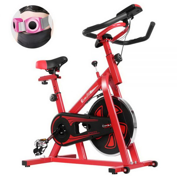 Everfit Spin Exercise Bike Cycling Fitness Commercial Home Workout Gym Equipment Red 1