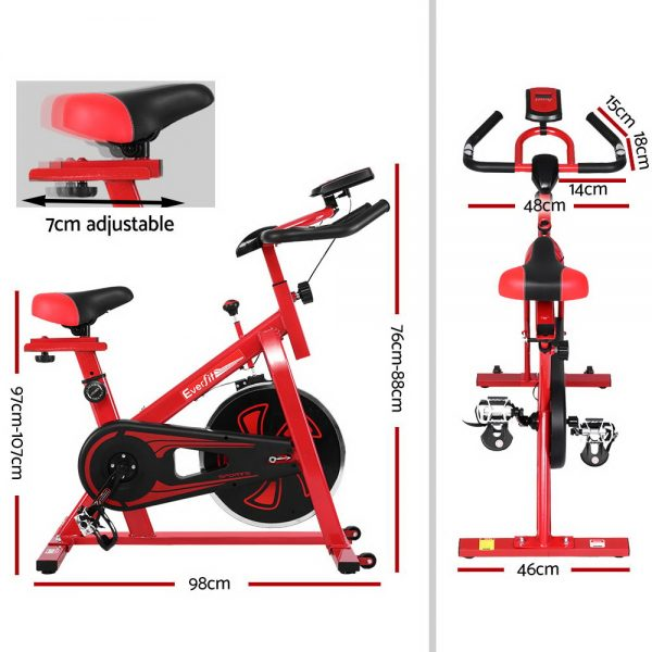 Everfit Spin Exercise Bike Cycling Fitness Commercial Home Workout Gym Equipment Red 2