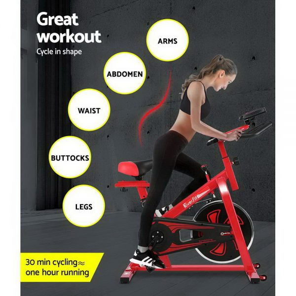 Everfit Spin Exercise Bike Cycling Fitness Commercial Home Workout Gym Equipment Red 3
