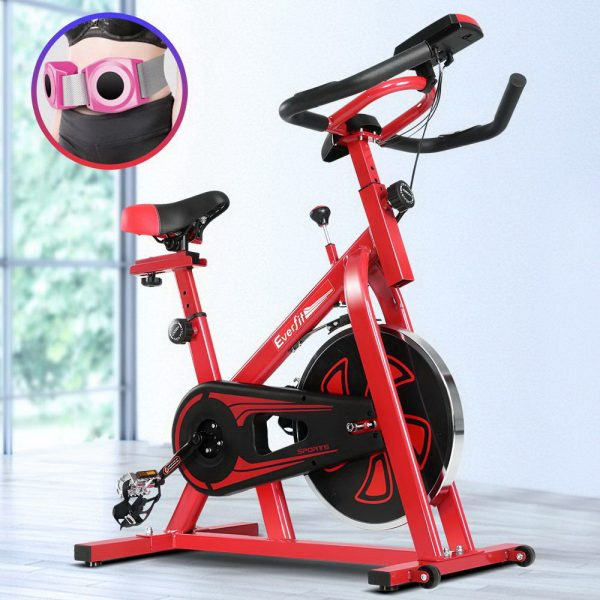 Everfit Spin Exercise Bike Cycling Fitness Commercial Home Workout Gym Equipment Red 7