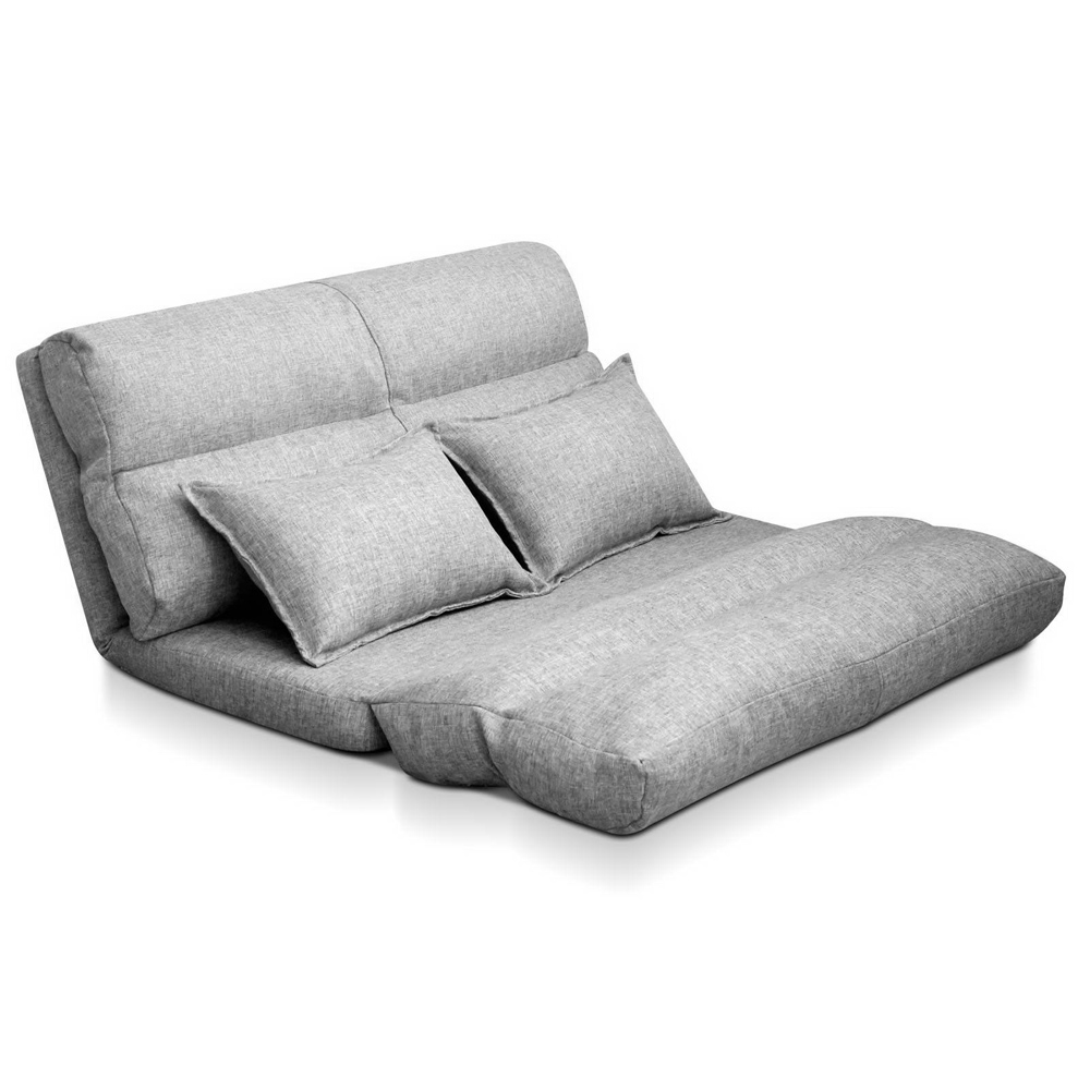 Artiss Lounge Sofa Bed Floor Recliner Chaise Folding Linen Farbric 1