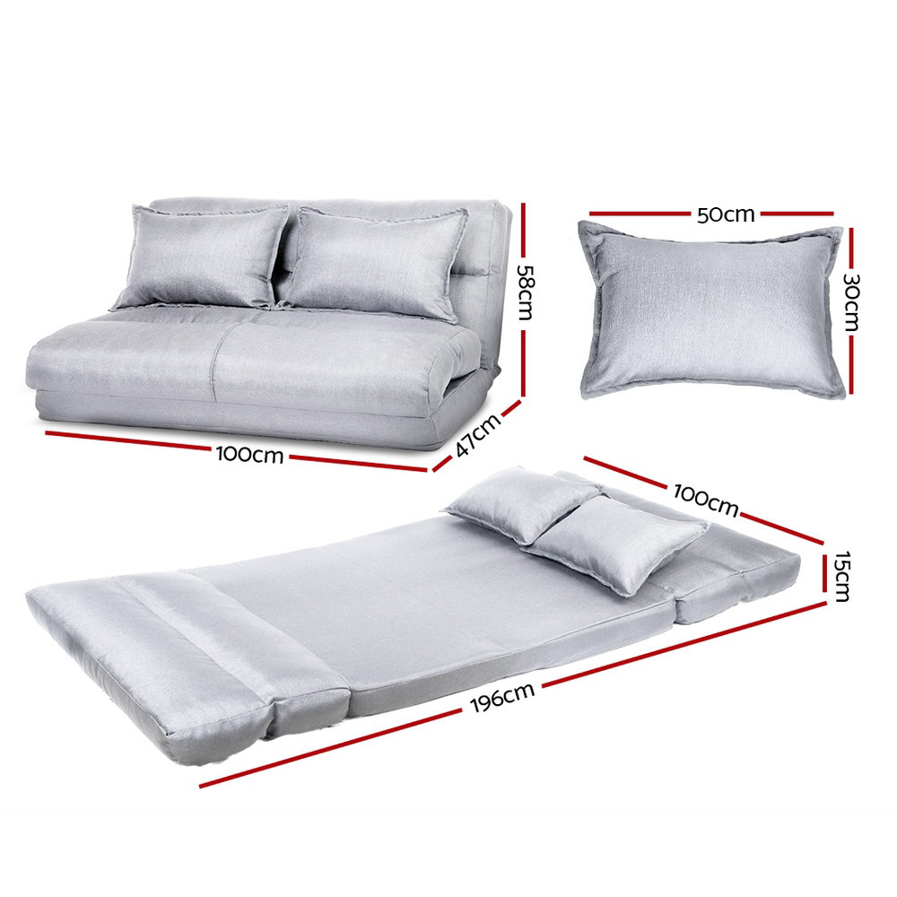 Artiss Lounge Sofa Bed Floor Recliner Chaise Folding Linen Farbric 2