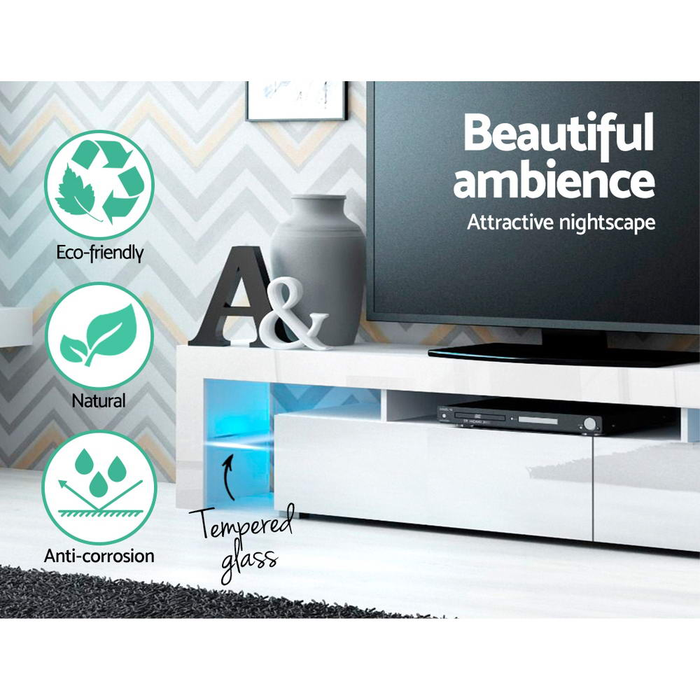 Artiss TV Cabinet Entertainment Unit Stand RGB LED Gloss Furniture 2 Drawers 200cm White 4