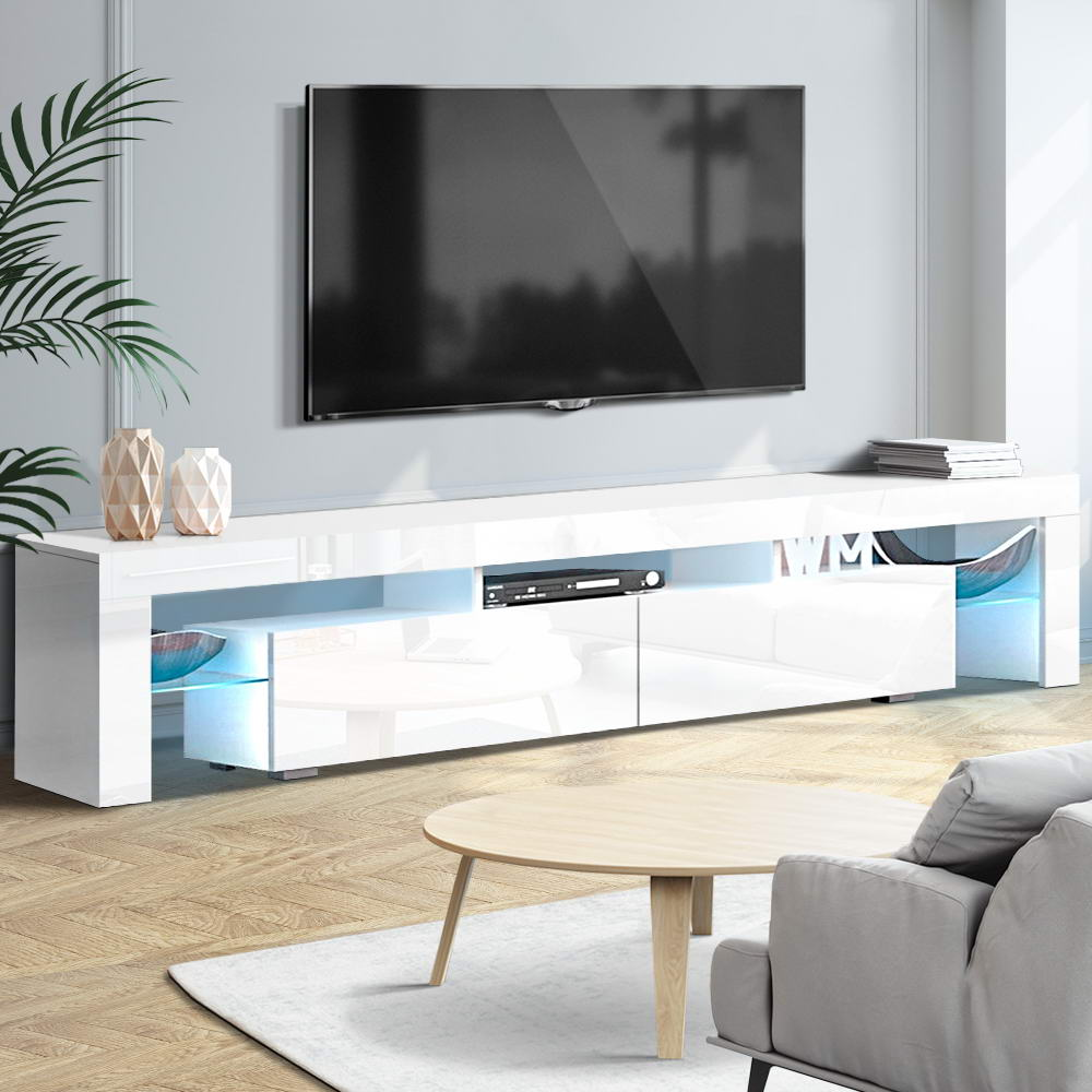 Artiss TV Cabinet Entertainment Unit Stand RGB LED Gloss Furniture 2 Drawers 200cm White 7