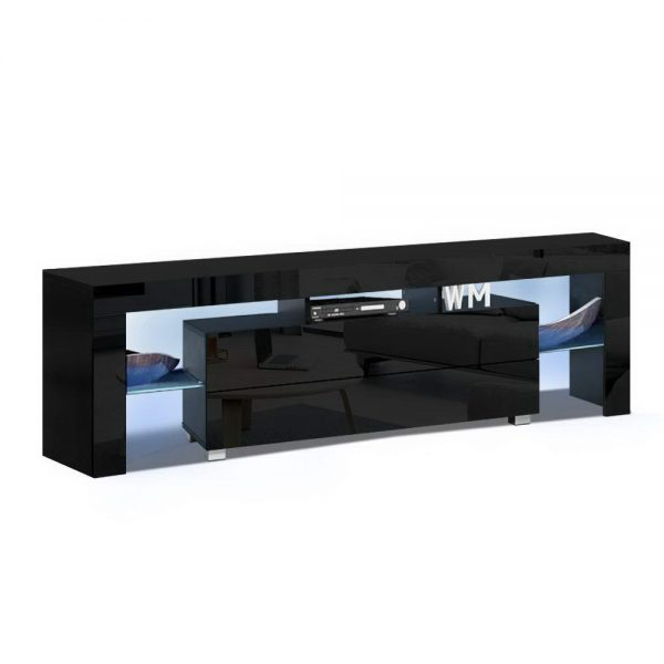 Artiss TV Cabinet Entertainment Unit Stand RGB LED Gloss Furniture 160cm Black 1