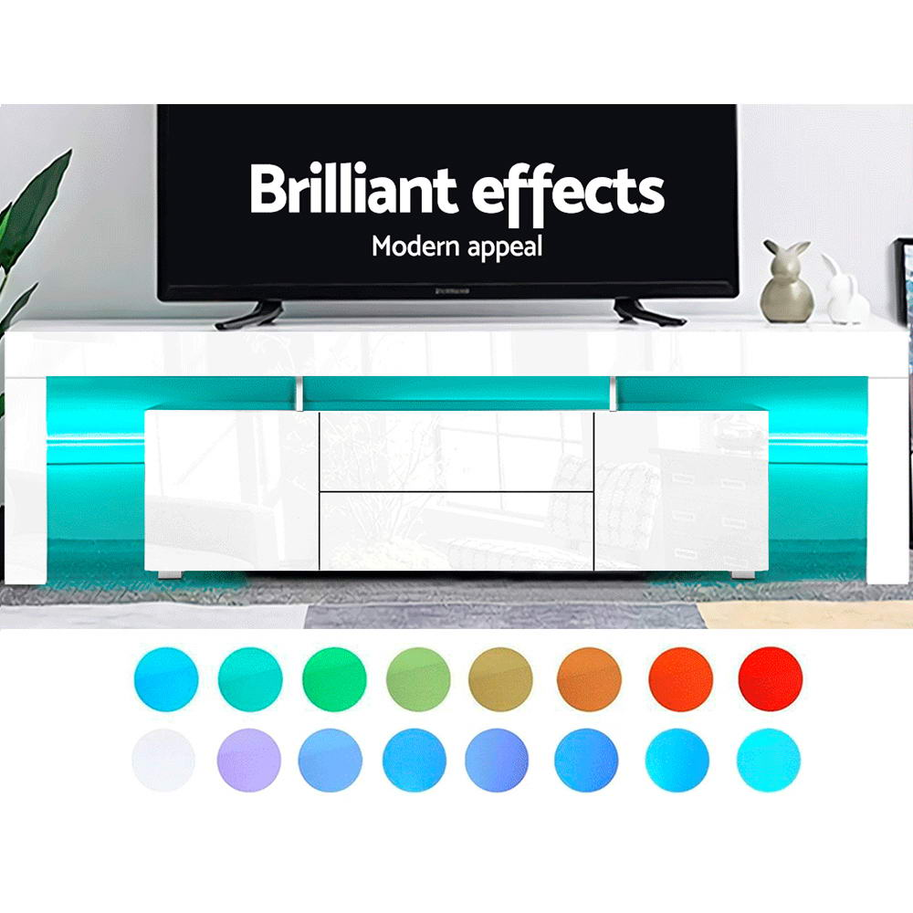Artiss TV Cabinet Entertainment Unit Stand RGB LED Gloss Furniture 200cm White 3
