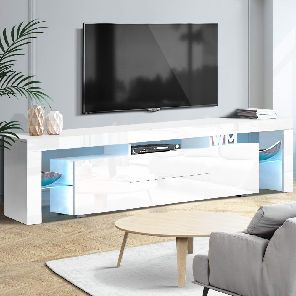 Artiss TV Cabinet Entertainment Unit Stand RGB LED Gloss Furniture 200cm White 7