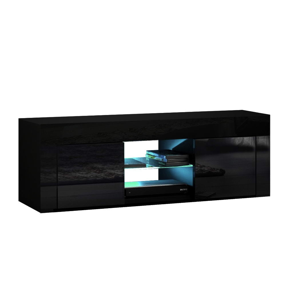 Artiss 130cm RGB LED TV Stand Cabinet Entertainment Unit Gloss Furniture Black