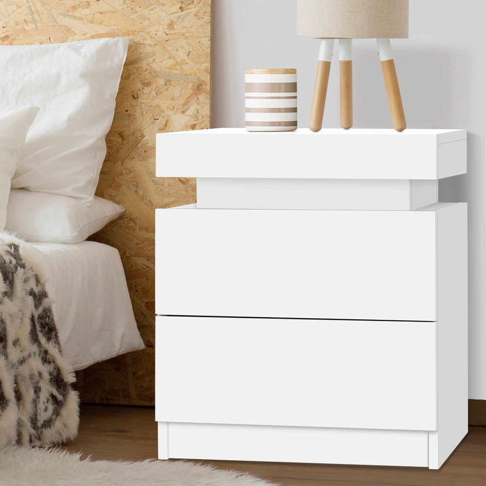 Artiss Bedside Tables 2 Drawers Side Table Storage Nightstand White Bedroom Wood 7