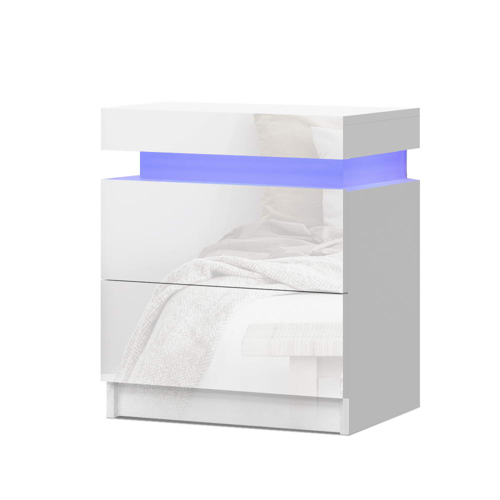 Artiss Bedside Tables Side Table Drawers RGB LED High Gloss Nightstand White 1