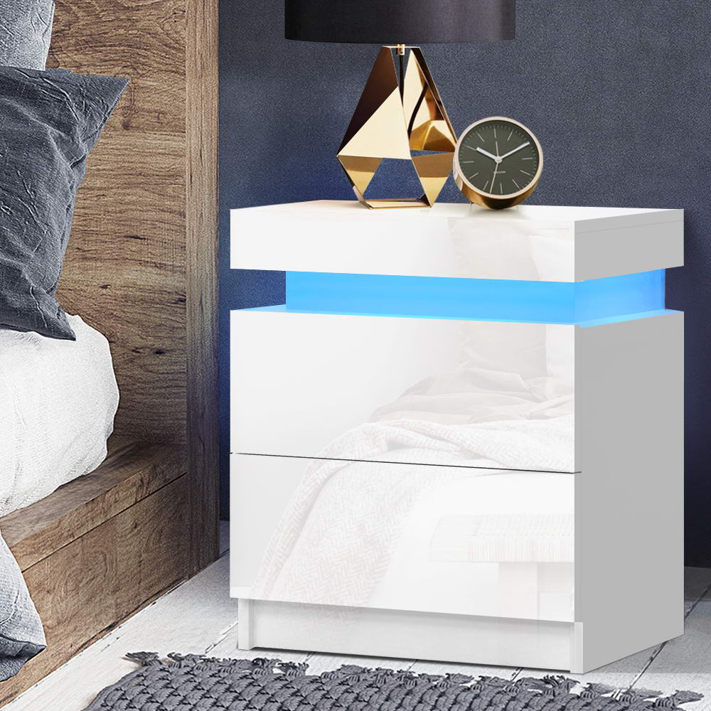 Artiss Bedside Tables Side Table Drawers RGB LED High Gloss Nightstand White 7