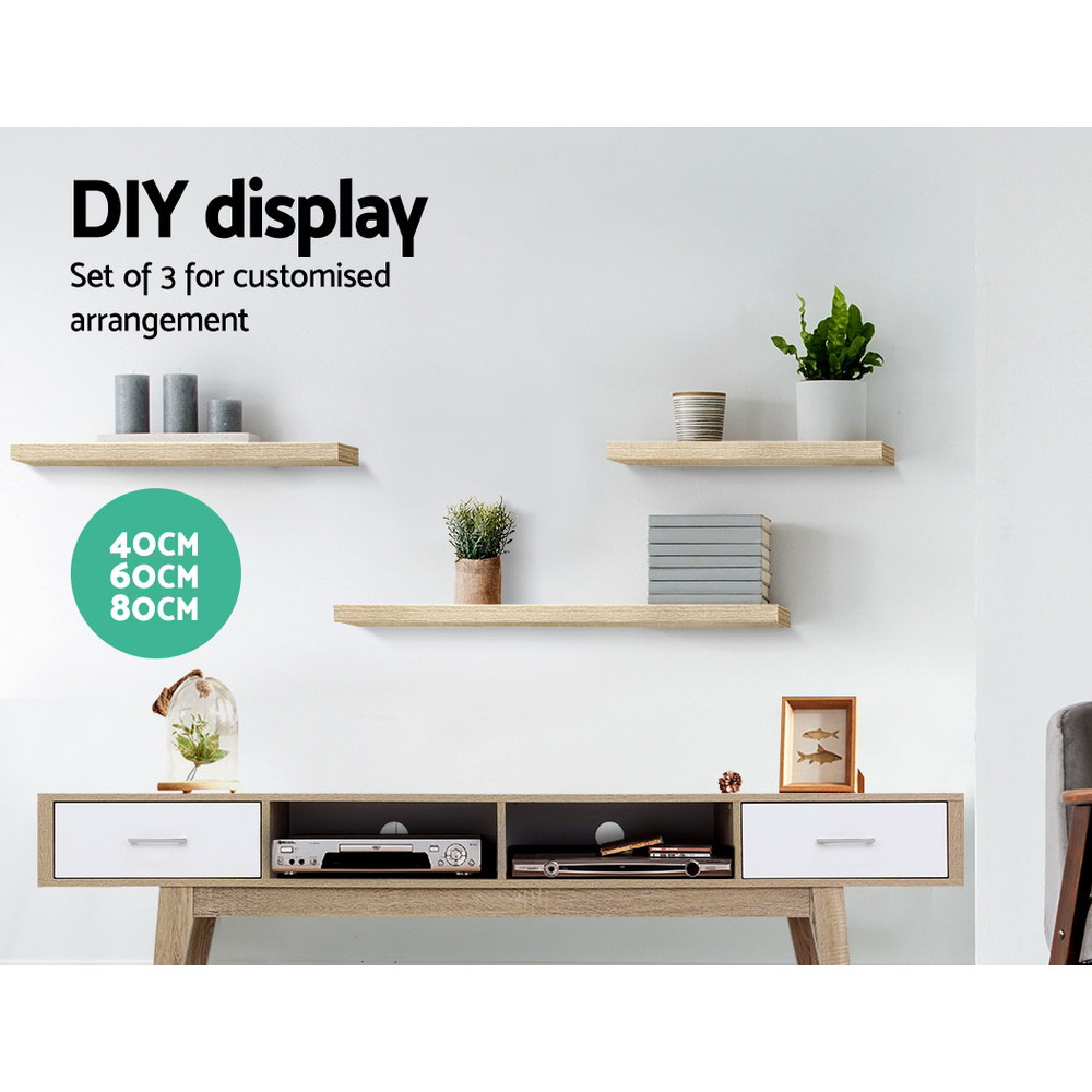 Artiss 3pcs Wall Floating Shelf Set DIY Mount Storage Book Display Rack Oak 3