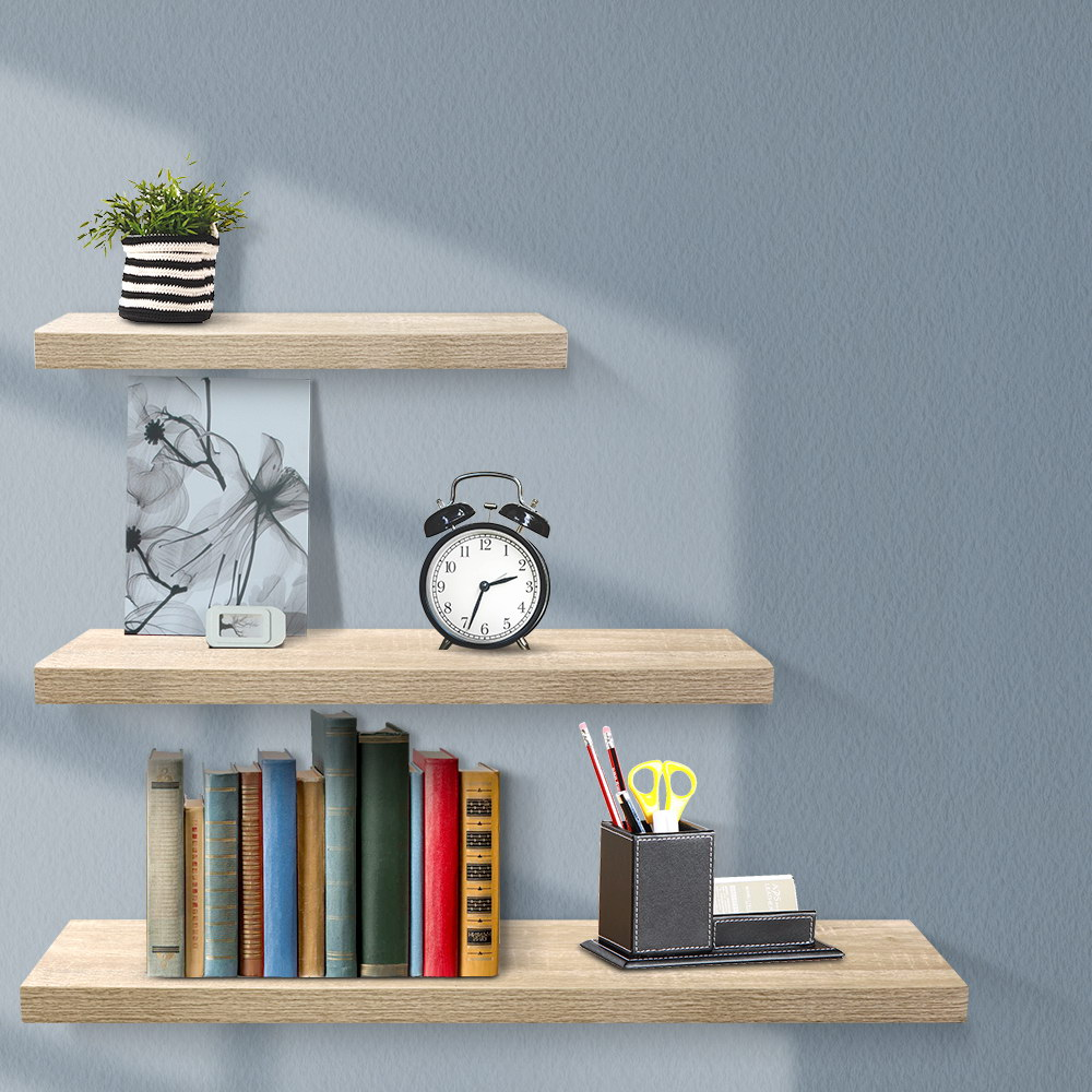 Artiss 3pcs Wall Floating Shelf Set DIY Mount Storage Book Display Rack Oak 7
