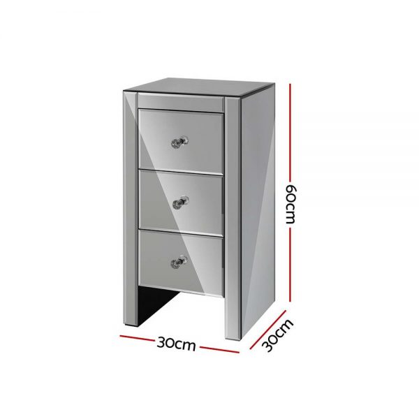 Artiss Mirrored Bedside Tables Drawers Crystal Chest Nightstand Glass Grey 2