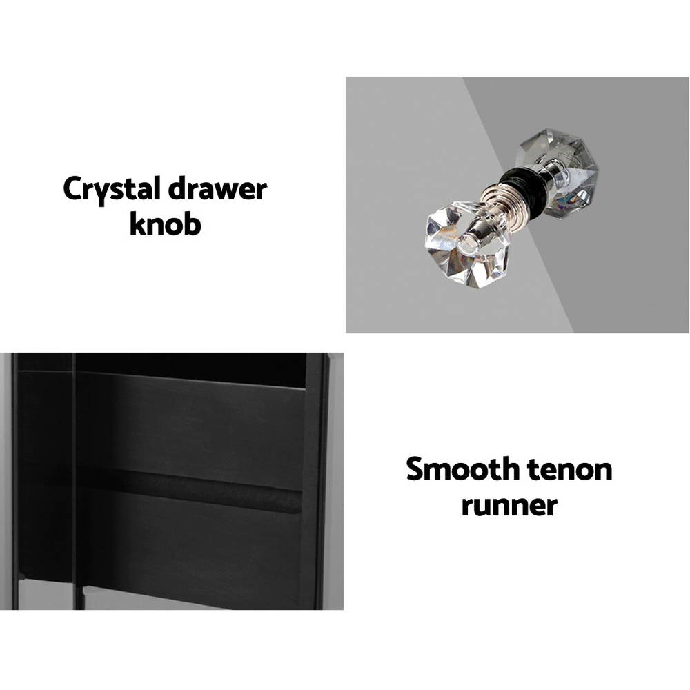 Artiss Mirrored Bedside Tables Drawers Crystal Chest Nightstand Glass Grey 4
