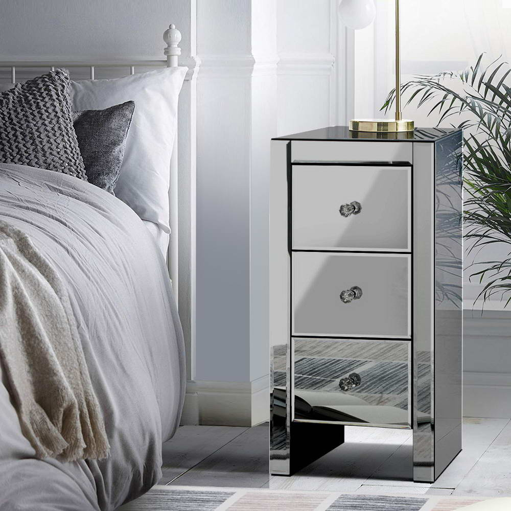 Artiss Mirrored Bedside Tables Drawers Crystal Chest Nightstand Glass Grey 7