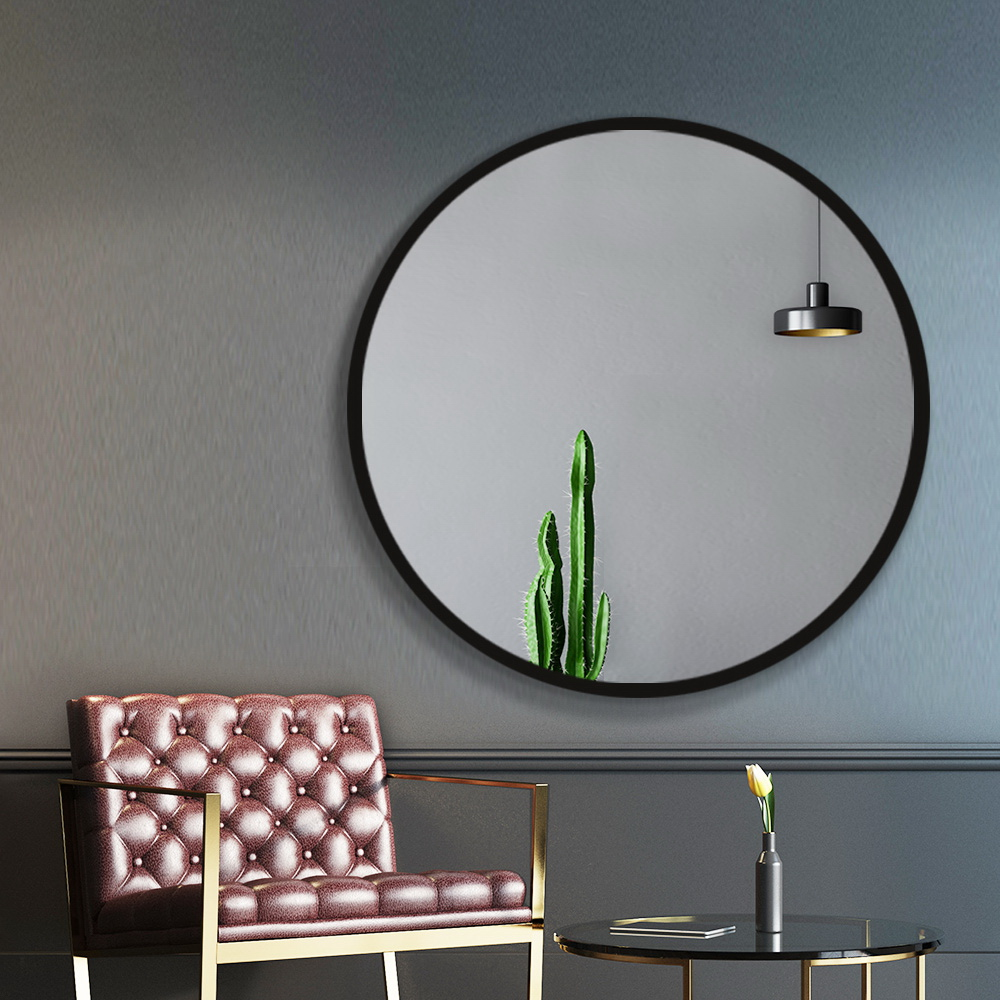 Embellir 90CM Wall Mirror Bathroom Makeup Mirror Round Frameless Polished 7