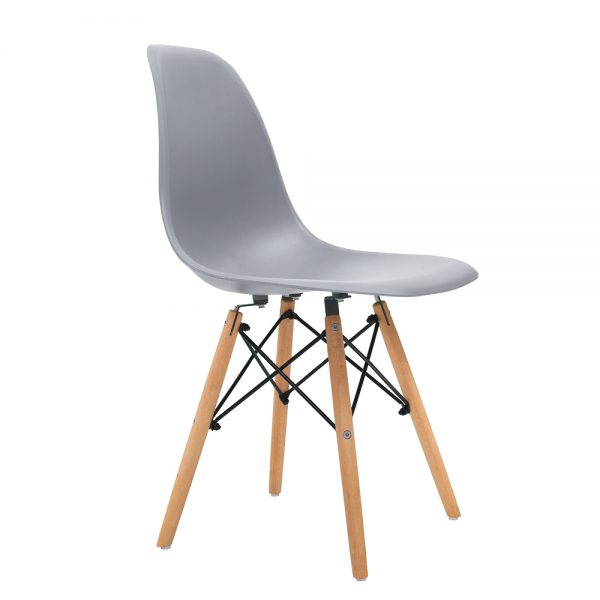 Artiss 4x Retro Replica Eames Dining DSW Chairs Kitchen Cafe Beech Wood Legs Grey 1