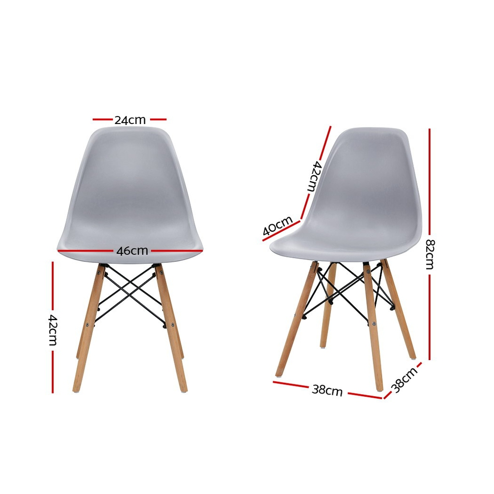 Artiss 4x Retro Replica Eames Dining DSW Chairs Kitchen Cafe Beech Wood Legs Grey 2