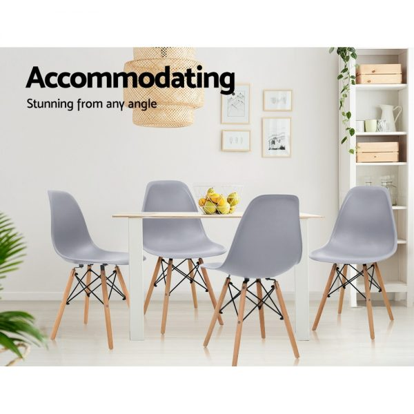 Artiss 4x Retro Replica Eames Dining DSW Chairs Kitchen Cafe Beech Wood Legs Grey 3
