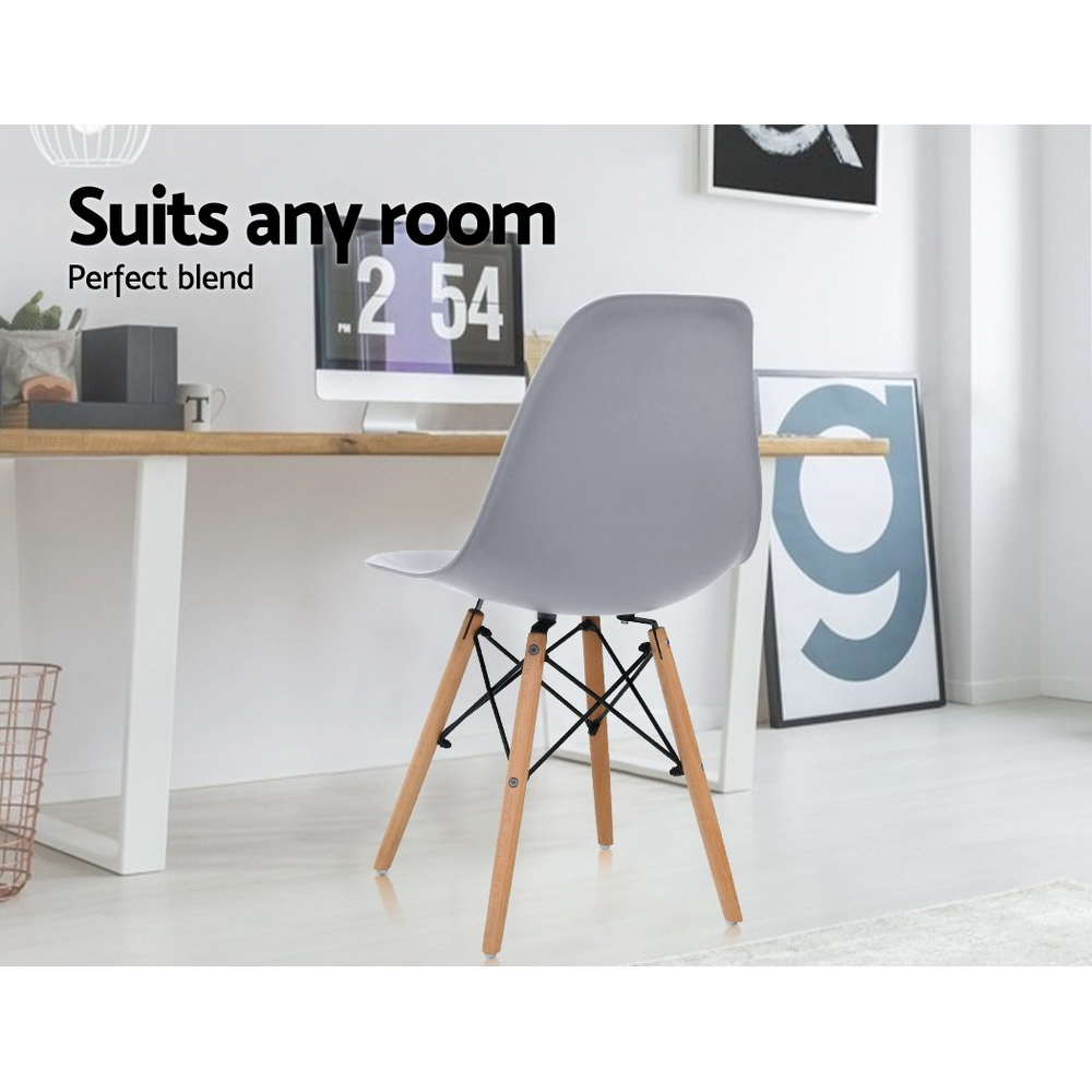 Artiss 4x Retro Replica Eames Dining DSW Chairs Kitchen Cafe Beech Wood Legs Grey 4