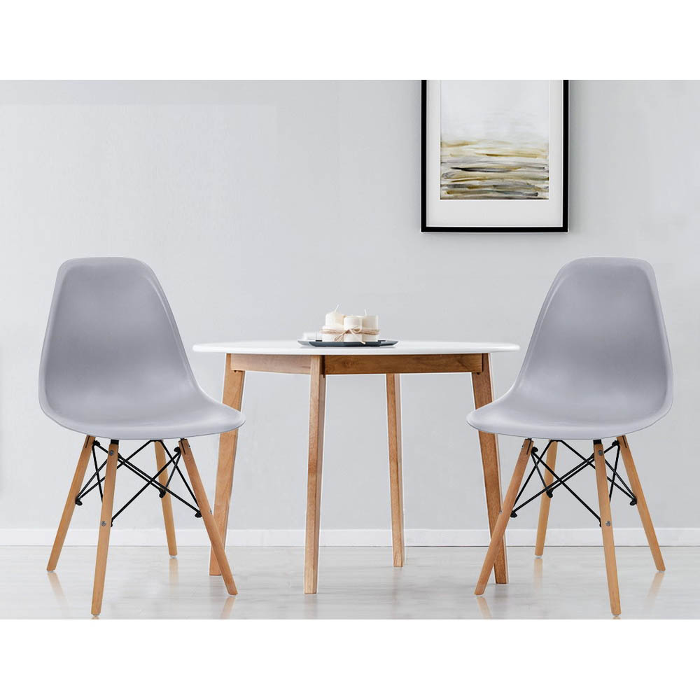 Artiss 4x Retro Replica Eames Dining DSW Chairs Kitchen Cafe Beech Wood Legs Grey 6