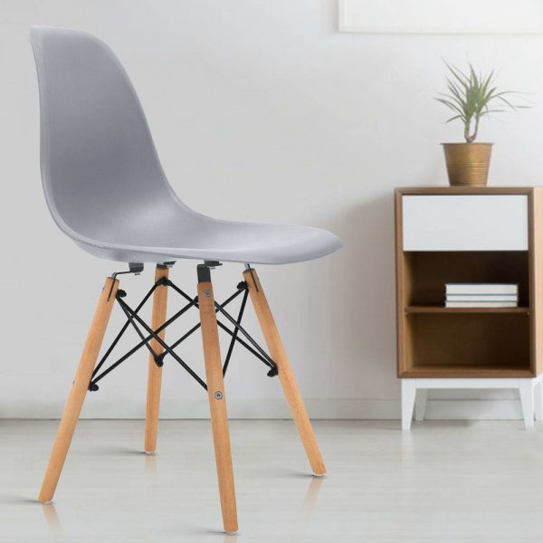 Artiss 4x Retro Replica Eames Dining DSW Chairs Kitchen Cafe Beech Wood Legs Grey 7