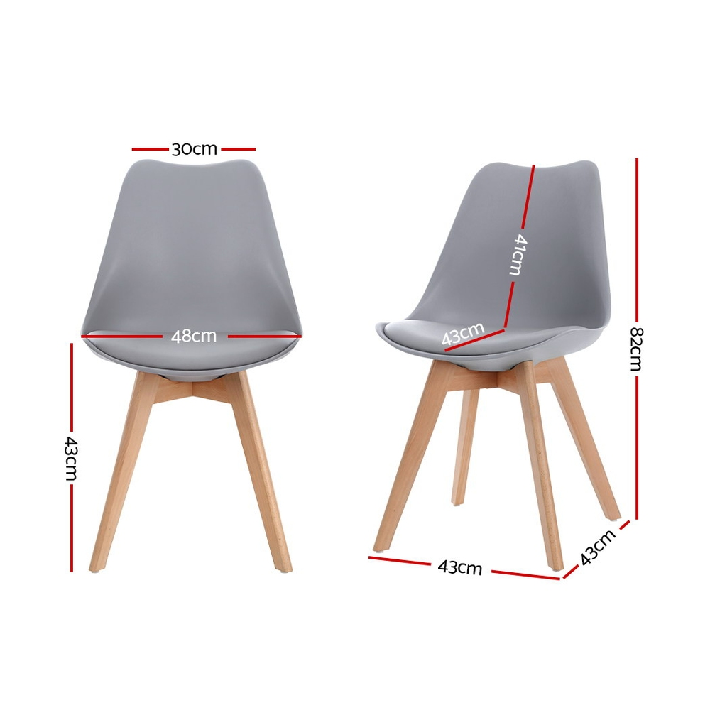 Artiss 4x Retro Replica Eames Dining DSW Chairs PU Leather Padded Kitchen Cafe Beech Wood Legs Grey 2
