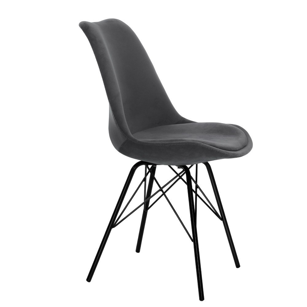 2x Artiss Dining Chairs Eames Chair DSW Cafe Kitchen Velvet Fabric Padded Iron Legs Grey 1
