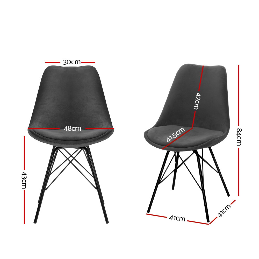 2x Artiss Dining Chairs Eames Chair DSW Cafe Kitchen Velvet Fabric Padded Iron Legs Grey 2