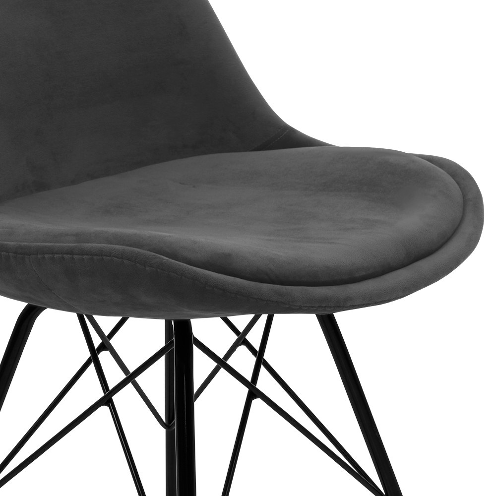 2x Artiss Dining Chairs Eames Chair DSW Cafe Kitchen Velvet Fabric Padded Iron Legs Grey 3