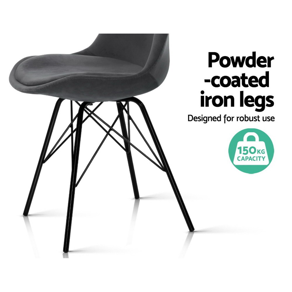 2x Artiss Dining Chairs Eames Chair DSW Cafe Kitchen Velvet Fabric Padded Iron Legs Grey 5