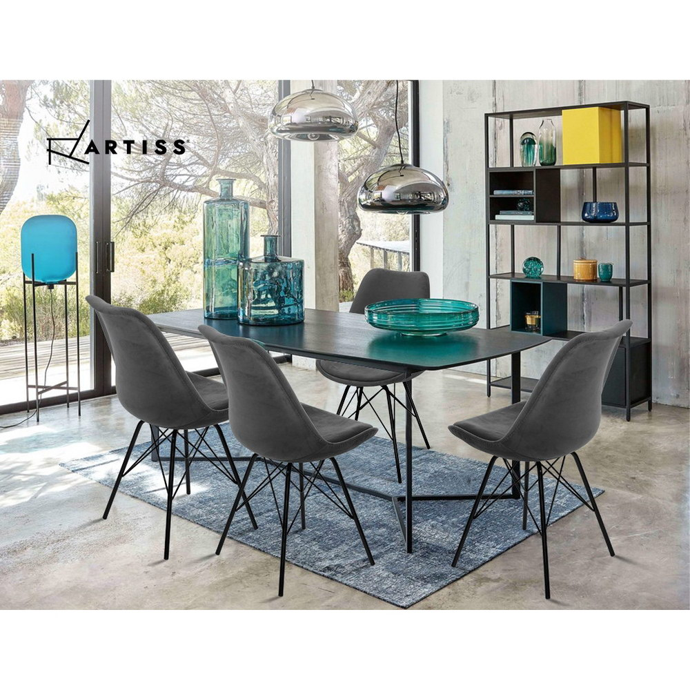 2x Artiss Dining Chairs Eames Chair DSW Cafe Kitchen Velvet Fabric Padded Iron Legs Grey 6
