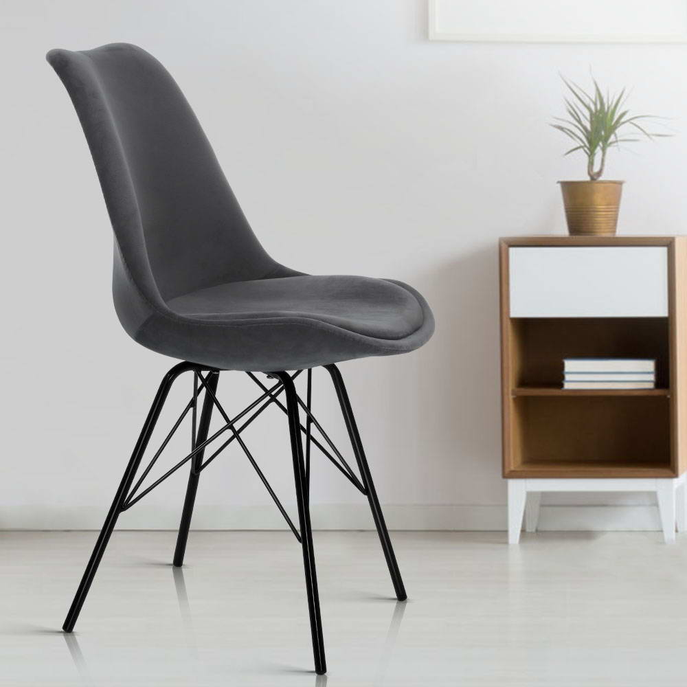 2x Artiss Dining Chairs Eames Chair DSW Cafe Kitchen Velvet Fabric Padded Iron Legs Grey 7