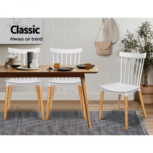 Artiss Dining Chairs Replica Kitchen Chair White Retro Rubber Wood Cafe Seat X4 3