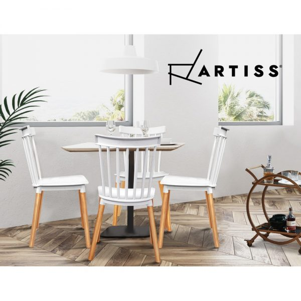Artiss Dining Chairs Replica Kitchen Chair White Retro Rubber Wood Cafe Seat X4 5