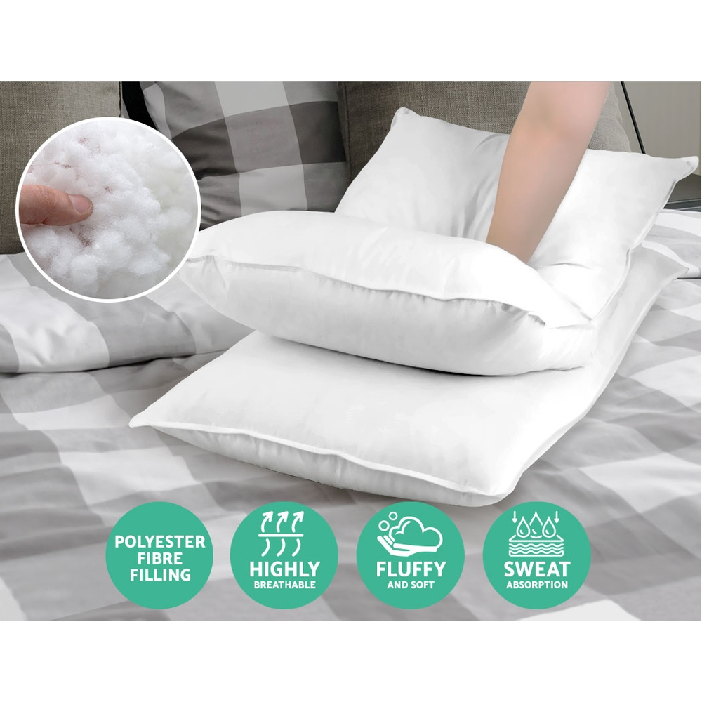 Giselle Bedding King Size 4 Pack Bed Pillow Medium*2 Firm*2 Microfibre Fiiling 3