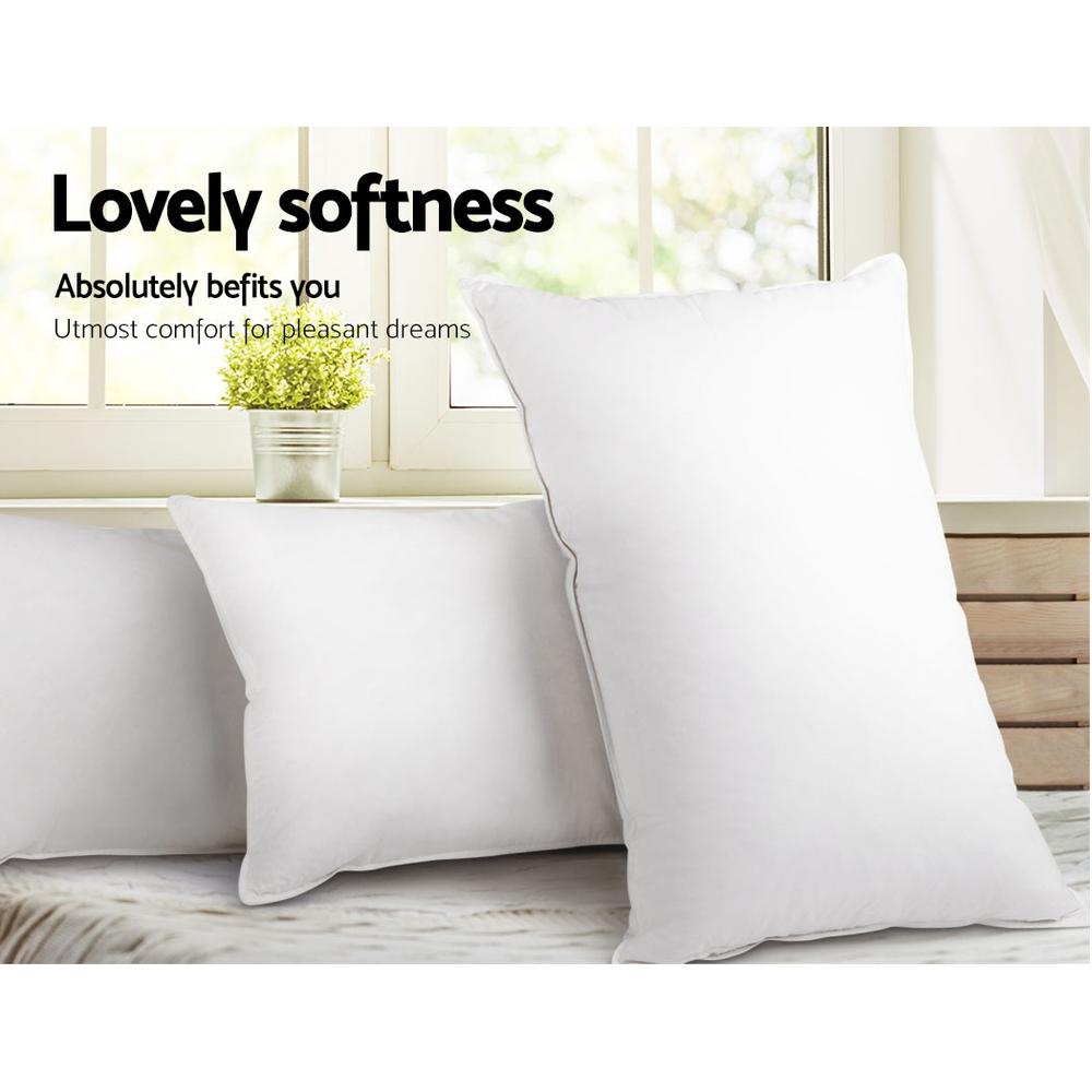Giselle Bedding King Size 4 Pack Bed Pillow Medium*2 Firm*2 Microfibre Fiiling 5
