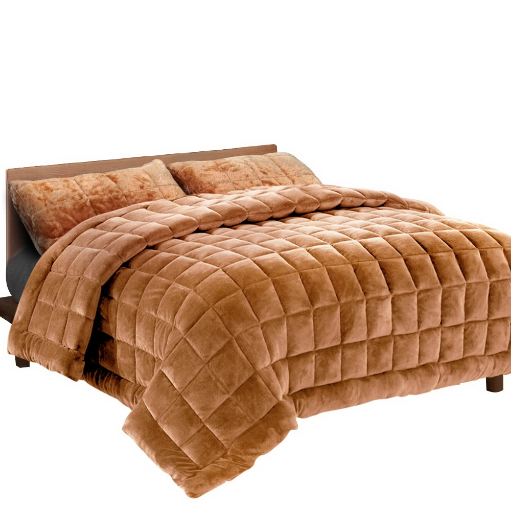 Giselle Bedding Faux Mink Quilt Duvet Comforter Throw Blanket Doona Latte Double