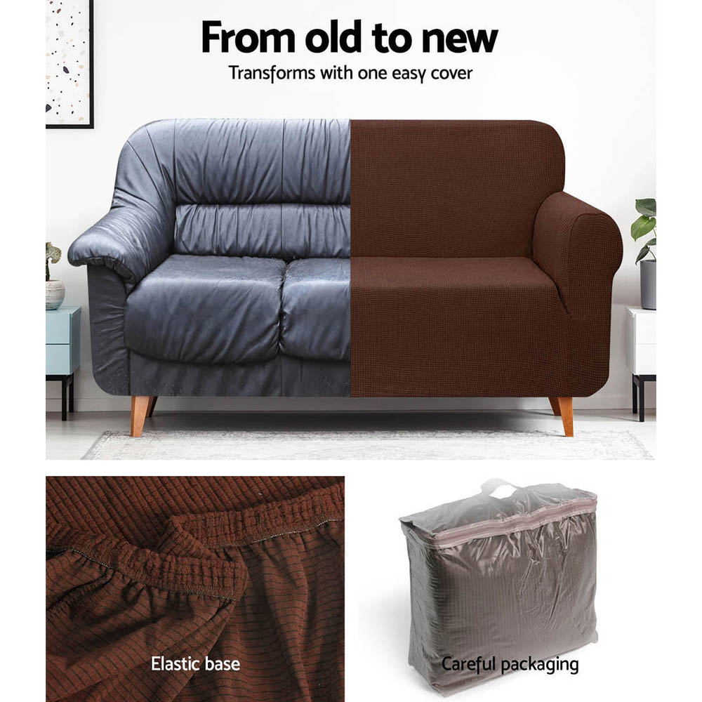 Artiss High Stretch Sofa Cover Couch Protector Slipcovers 2 Seater Coffee 5