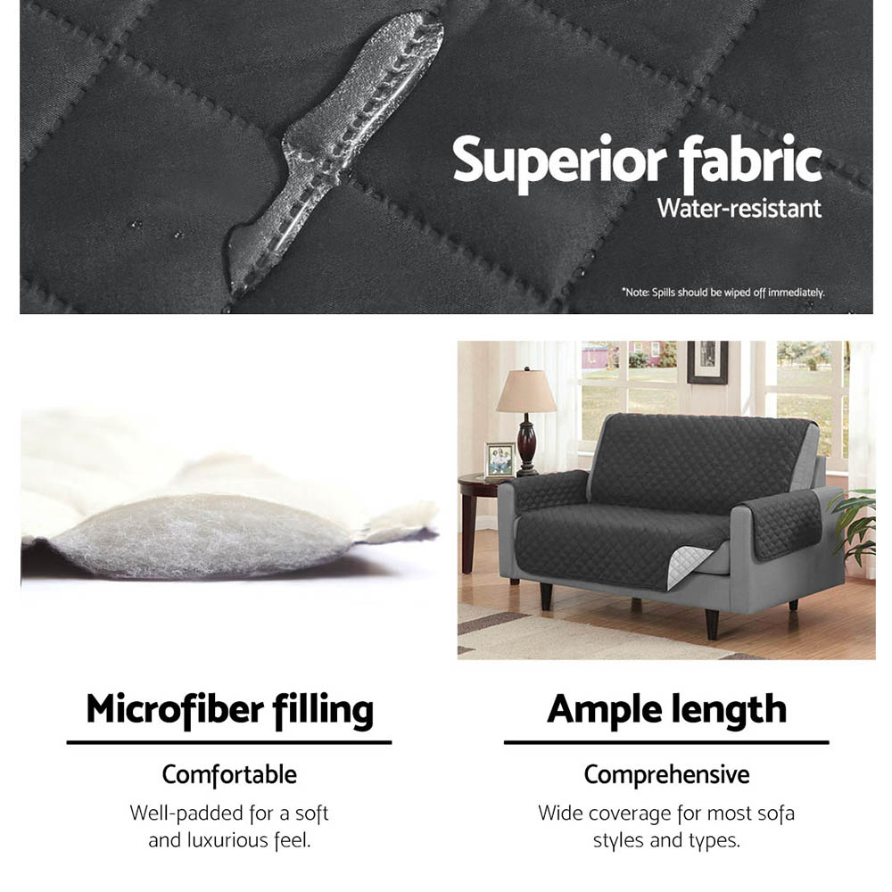 Artiss Sofa Cover Quilted Couch Covers Protector Slipcovers 1 Seater Dark Grey 5