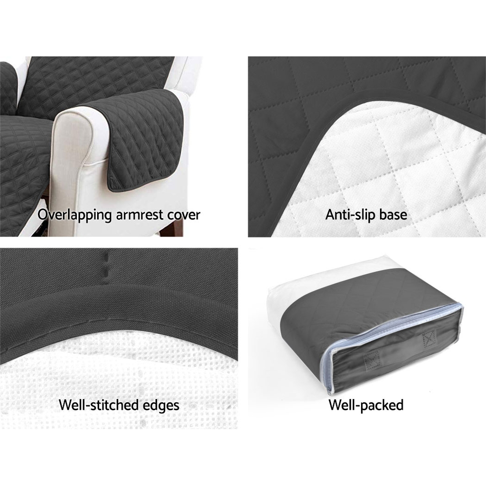 Artiss Sofa Cover Quilted Couch Covers Protector Slipcovers 1 Seater Dark Grey 7