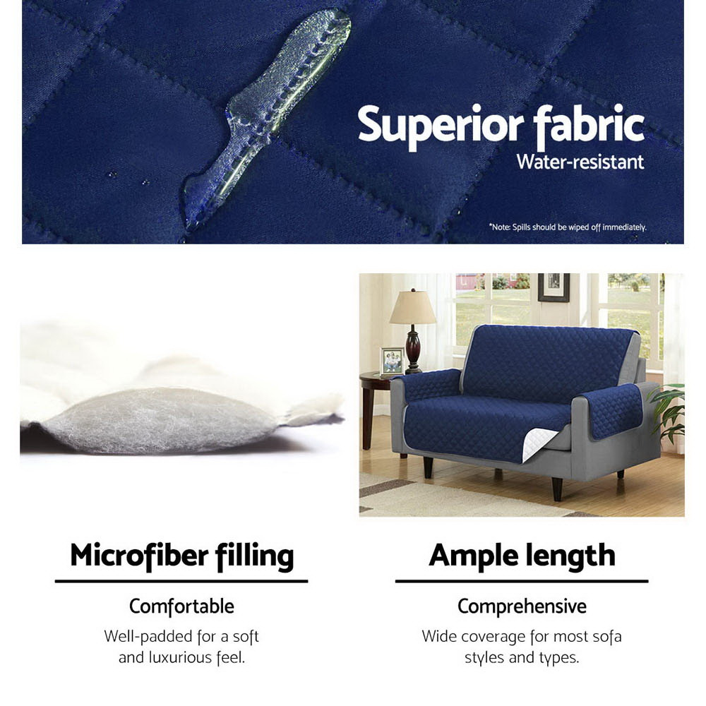 Artiss Sofa Cover Quilted Couch Covers Protector Slipcovers 1 Seater Navy 4