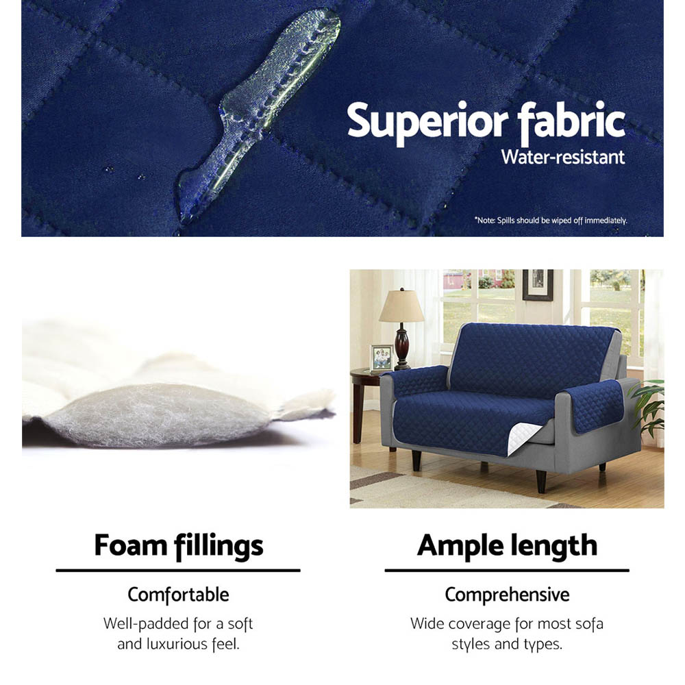 Artiss Sofa Cover Quilted Couch Covers Protector Slipcovers 1 Seater Navy 6