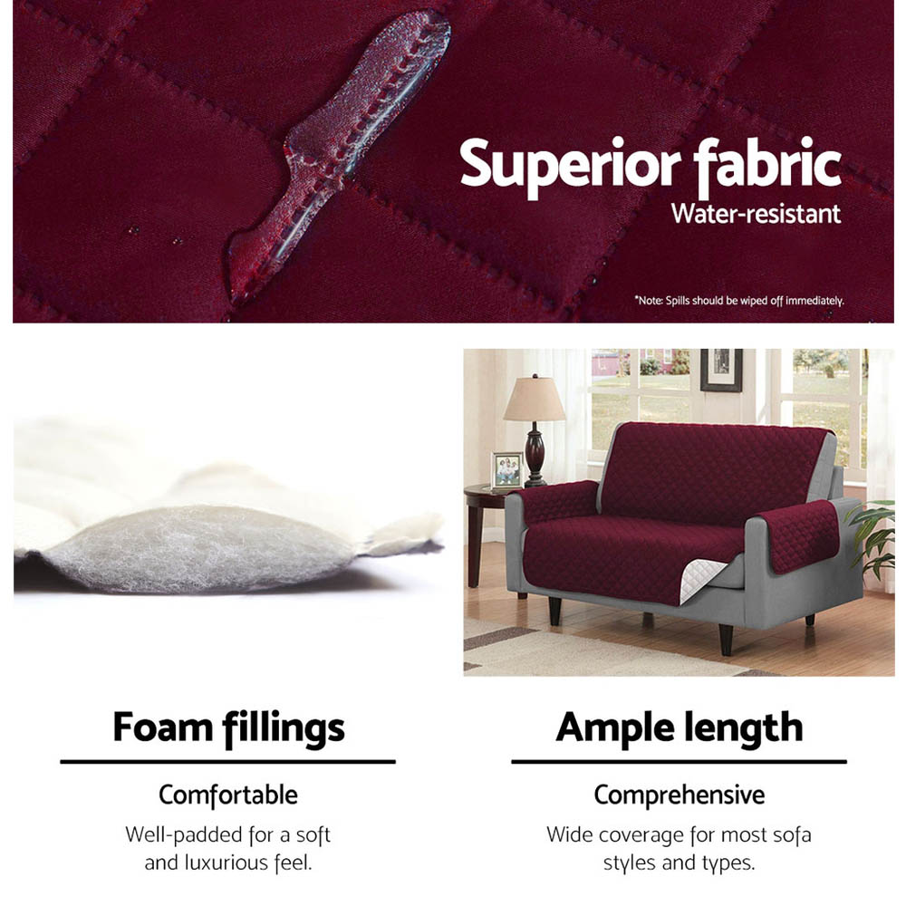 Artiss Sofa Cover Quilted Couch Covers Protector Slipcovers 1 Seater Burgundy 7