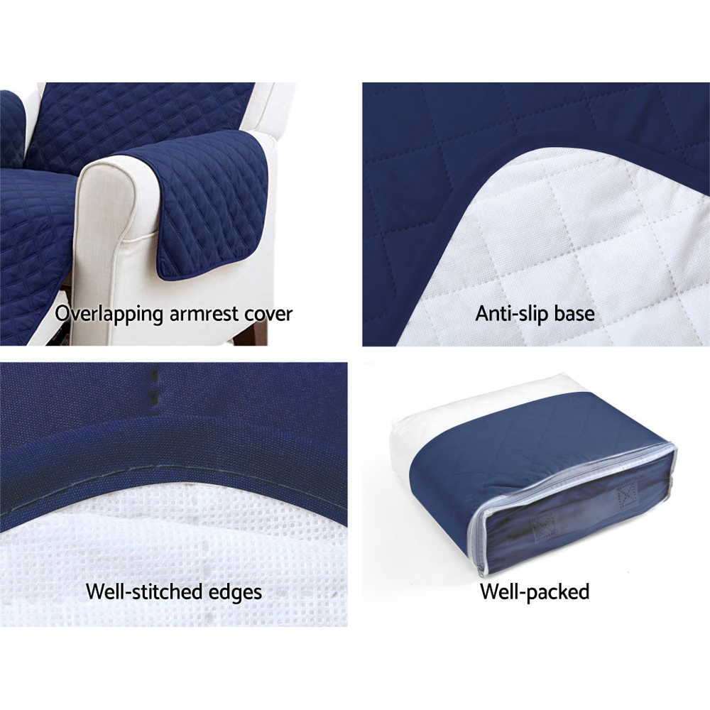 Artiss Sofa Cover Quilted Couch Covers Protector Slipcovers 2 Seater Navy 4