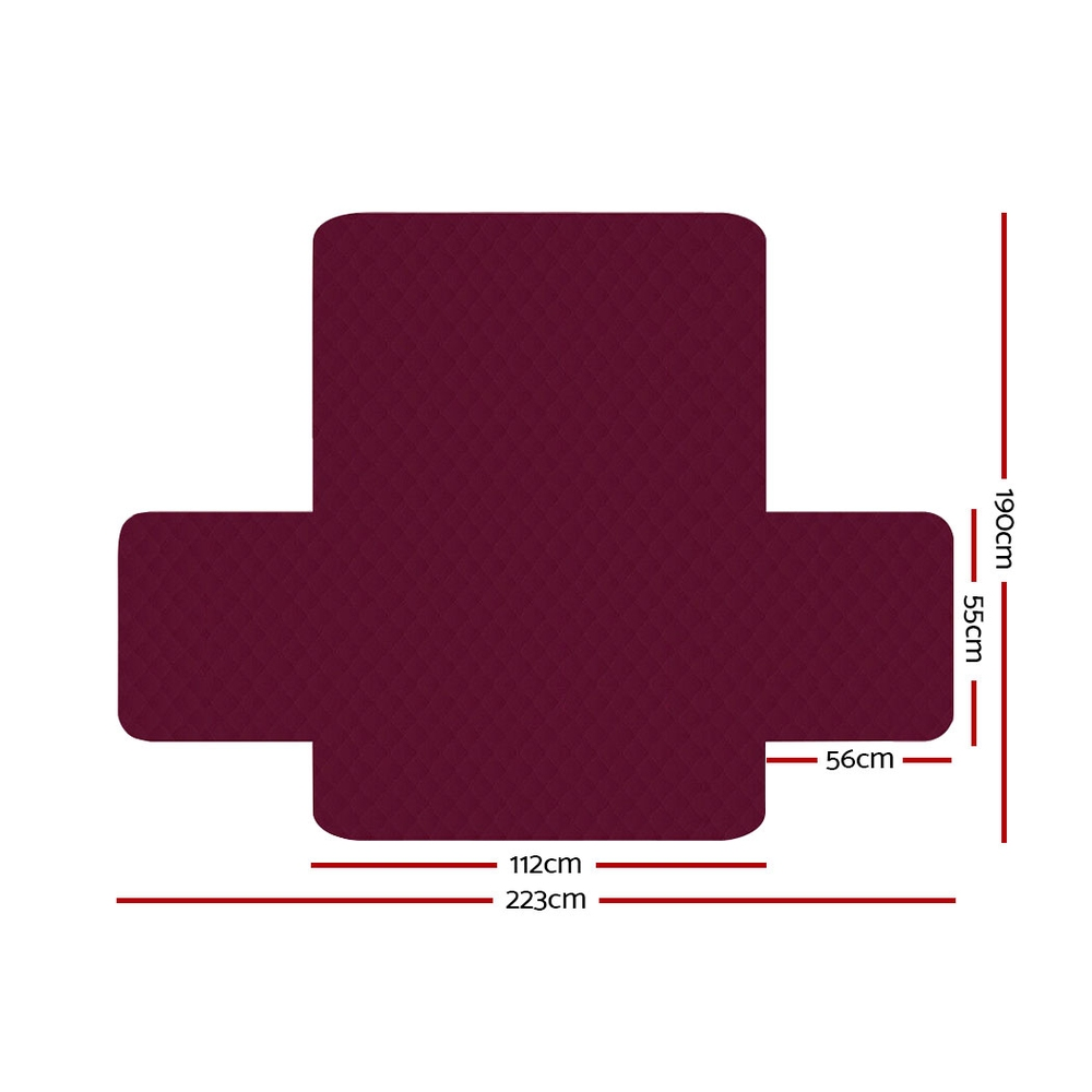 Artiss Sofa Cover Quilted Couch Covers Protector Slipcovers 2 Seater Burgundy 2