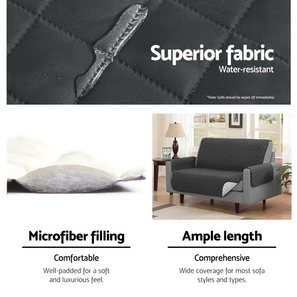 Artiss Sofa Cover Quilted Couch Covers Protector Slipcovers 3 Seater Dark Grey 5