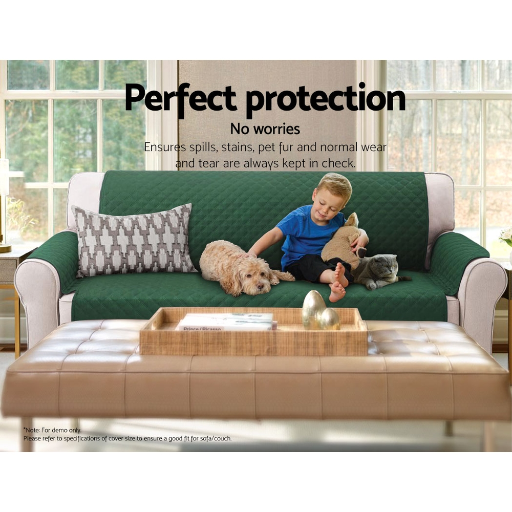 Artiss Sofa Cover Quilted Couch Covers Protector Slipcovers 3 Seater Green 6